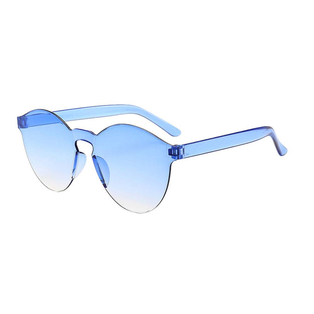 Sunglasses for Women Men, JOYFEEL Retro Clear Lens Frameless Eyewear Lightweight Summer Fashion Outdoor Glasses Blue