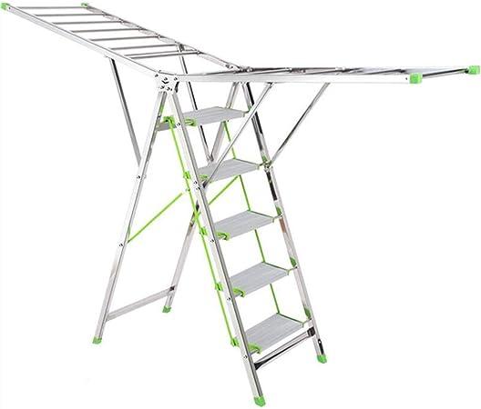 Rack de secado de escaleras De doble uso Piso multiuso Estante de secado interior Acero inoxidable Plegable en casa Cuatro escaleras Escalera de cinco pasos de acero inoxidable, buen material, refuerz: Amazon.es: