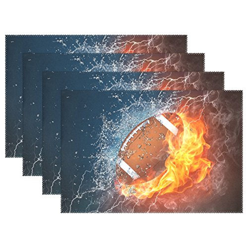My Little Nest American Football In Fire and Water Flame Lightning Placemats Dining Pad Washable Table Mats for Party Kitchen Dining Table Home Decor 4 Pieces