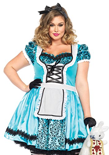 Leg Avenue Women's Plus-Size Looking Glass Alice Costume, Blue/Black, 3X