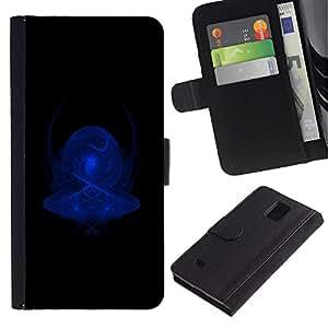 Paccase / Billetera de Cuero Caso del tirón Titular de la tarjeta Carcasa Funda para - Blue Abstract - Samsung Galaxy Note 4 SM-N910
