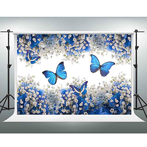GESEN Wedding Backdrop 7x5ft Gypsophila Blue Flowers Butterfly Photography Backdrop for Pictures Themed Party Decorations Photography Props PGGE693