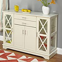 Sideboard Buffet Storage, Two Tempered Glass Doors with X Lattice, Perfect for Kitchen or Dining Room Furniture, Crafted of Select Engineered Wood, Multiple Finish + Expert Guide