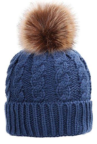 t Hand Knit Faux Fur Pompoms Beanie For Women Denim Blue (Blue Knit Beanie Cap Hat)