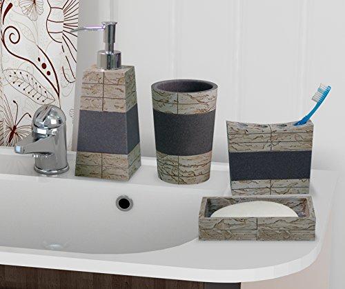 (nu steel NuSteel 4pc Dish, Toothbrush Holder, Tumbler, soap Pump Rustic 8pc Set Bath Collection-Stone Rust/Grey)