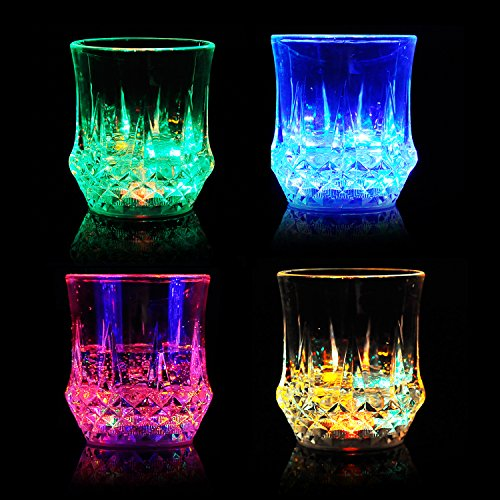 Flashing Cups-4PCS with 10 Packs Batteries, VDS Flashing Light Up Stemless Wine Glasses with LED Glowing Lights Wine/Beer Cup for Nightclub Bar Birthday Party Halloween Christmas (7oz/200ml)