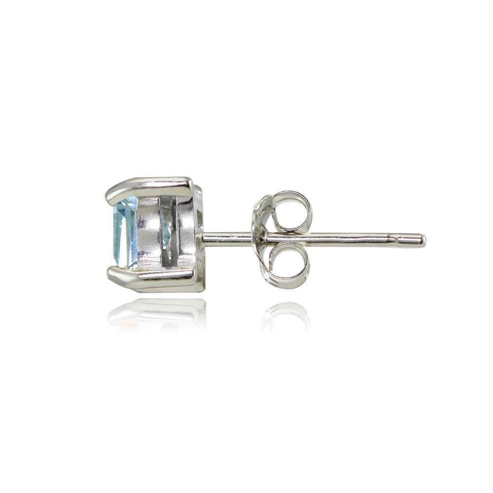 Sterling Silver Genuine Created or Simulated Birthstone Gemstone 4mm Square Stud Earrings