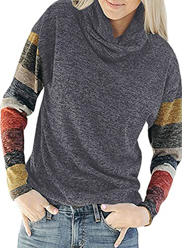 - Dokotoo Womens Plus Size Autumn Casual Color Block Stripes Sweatshirts High Neck Long Sleeve Gray Pullover Fall Knitted Blouse for Jeans X-Large
