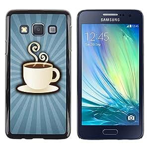 Paccase / Dura PC Caso Funda Carcasa de Protección para - Coffee Cup Mug Steaming Drink Caffeine Art - Samsung Galaxy A3 SM-A300