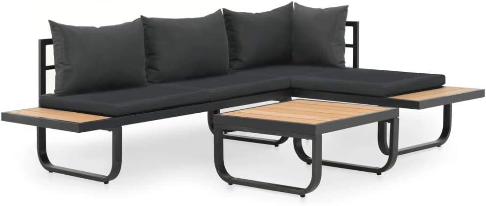 Divani Angolari Con Tavolino.Vidaxl Divano Angolare Con Cuscini E Tavolino In Alluminio E Wpc