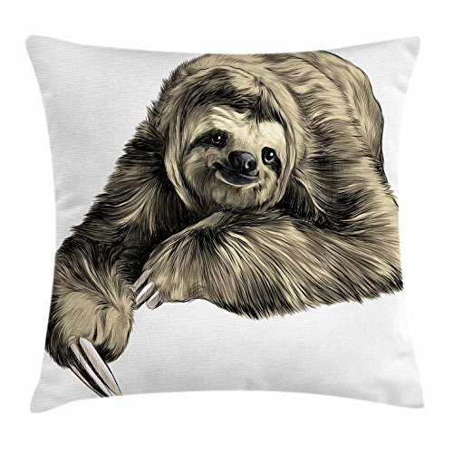 Ambesonne Sloth Throw Pillow Cushion Cover, Sweetly Smiling Jungle Animals Lying Down with Crossed Legs Tropic Fauna Sketch, Decorative Square Accent Pillow Case, 18 X 18 Inches, Ivory Black