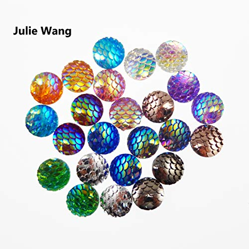 JulieWang 100pcs Mermaid Scales Skin Cabochons Resin Mixed Shinny Color for Jewelry Making (12x12mm)