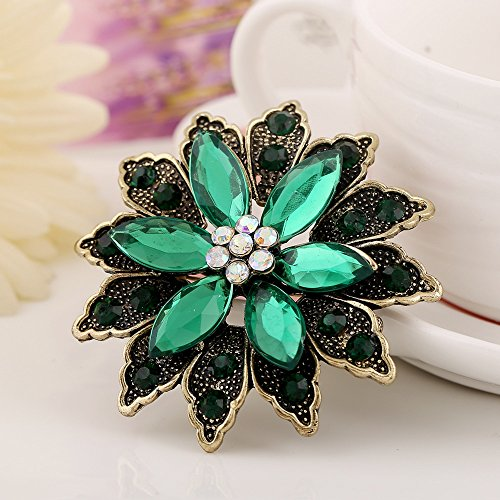 Green Womens Brooch - Jewby Fashionable Brooch Pins for Women Bouquet Flower Wedding Created Crystal Brooch (Green)