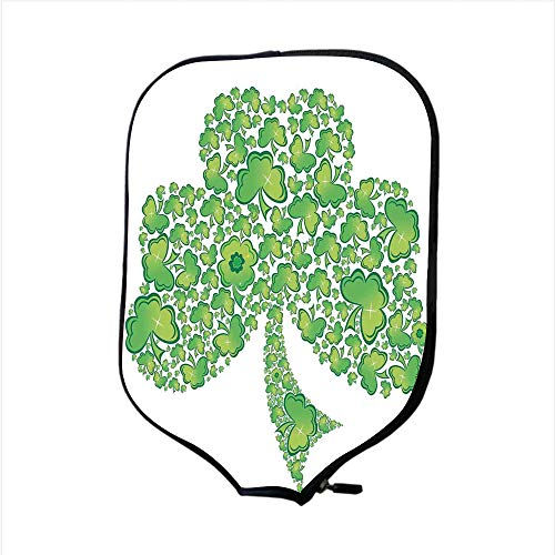 Trinity Patterns (iPrint Neoprene Pickleball Paddle Racket Cover Case,Celtic,Irish Shamrock Figure Made with Small Clover Patterns Holy Trinity Symbol Graphic,Green White,Fit for Most Rackets - Protect Your Paddle)