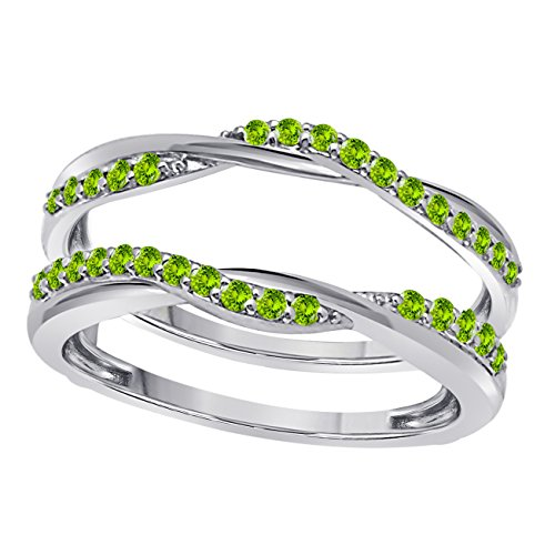 Sterling Silver Plated Delicate Bypass Infinity Style Vintage Wedding Ring Guard Enhancer with CZ Green Peridot (0.50 ct. tw.) ()