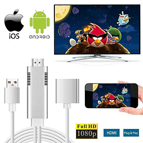 apter, HD Mirroring Cable to HDMI 1080P Connector HDTV Monitor Projector Adapter Compatible for iOS/Android Smartphone, Laptop with USB Charging ()