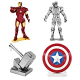 model kits marvel - Fascinations Metal Earth 3D Model Kits Marvel Avengers SET 4 = Iron Man - War Machine - Captain America's Shield - Thor's Hammer