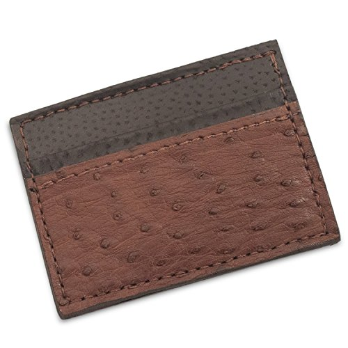 Genuine Handmade Money Ostrich Clip Leather Magnetic Genuine Wallet Ostrich Brown pnng8TR