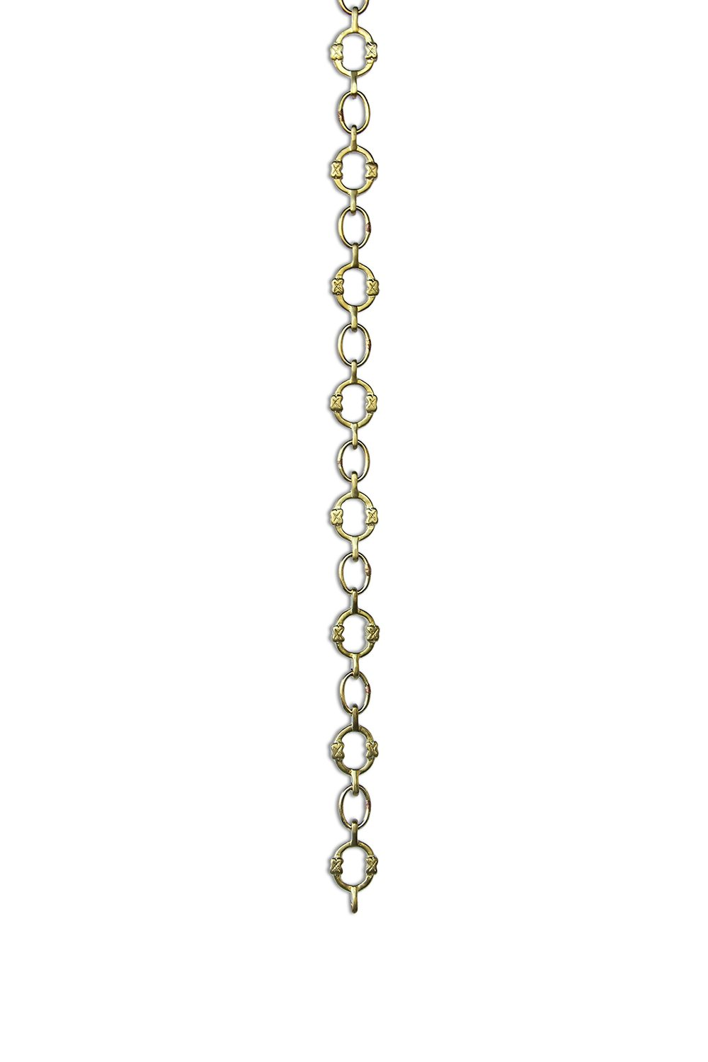 RCH Hardware CH-17-PB Decorative Polished Solid Brass Chain for Hanging, Lighting - Small Round Unwelded Links with X Design (1 Foot)