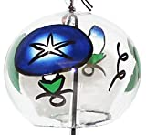 Japanese Handmade Glass Wind Chime with Paintings of Blue Morning Glory Flowers