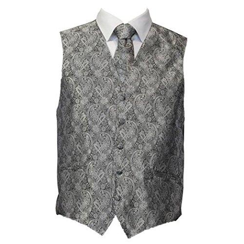 Amanti - Men's 4pc Set Paisley Tuxedo Vest - Silver, Small