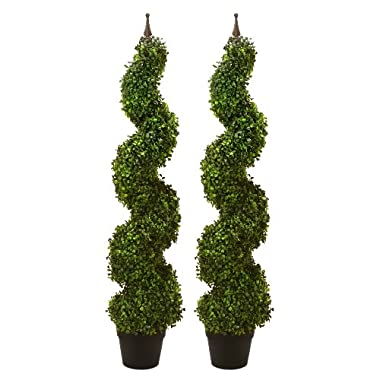 TWO Pre-potted 47  Artificial Outdoor Indoor Spiral Boxwood Artificial Topiary Trees. In Plastic Pot