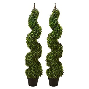 "Arcadia Silk Plantation TWO Pre-potted 47"" Artificial Outdoor Indoor Spiral Boxwood Artificial Topiary Trees. In Plastic Pot 69"