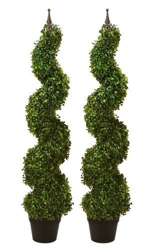 Arcadia-Silk-Plantation-TWO-Pre-potted-47-Artificial-Outdoor-Indoor-Spiral-Boxwood-Artificial-Topiary-Trees-In-Plastic-Pot