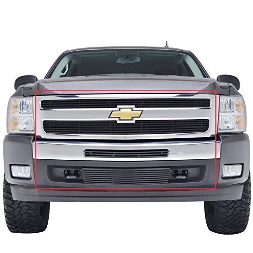 E-Autogrilles Aluminum Black Horizontal Overlay Billet Grille Grill Insert Combo Kit (Includes Grille/Center Bumper/Lower Bumper Inserts) for 09-13 Chevy Silverado 1500 (36-6104B) (Lower Grill Insert)
