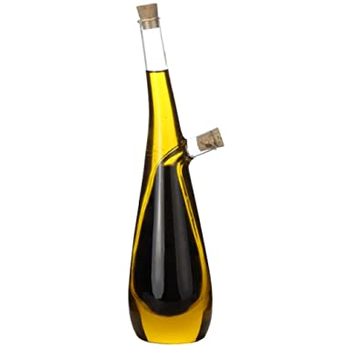 Lily's Home Glass Olive Oil and Vinegar Dispenser, A Beautiful Addition to Any Kitchen and Dinnerware Set (15 Ounces & 10 Ounces)
