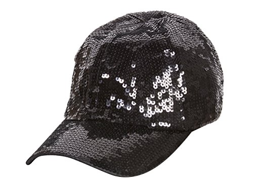 Sequin Baseball Cap - Glitter Sequin Elastic Fit Baseball Hat - Black