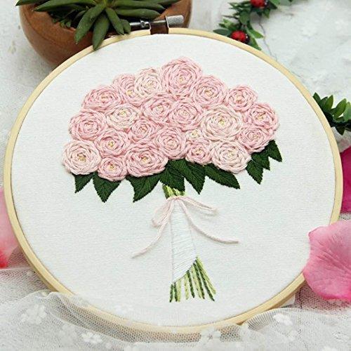 Embroidery Kit For Beginner Flower Design DIY Home Wall Decor Rose Pink Wedding Flower (Skull Embroidery Design)