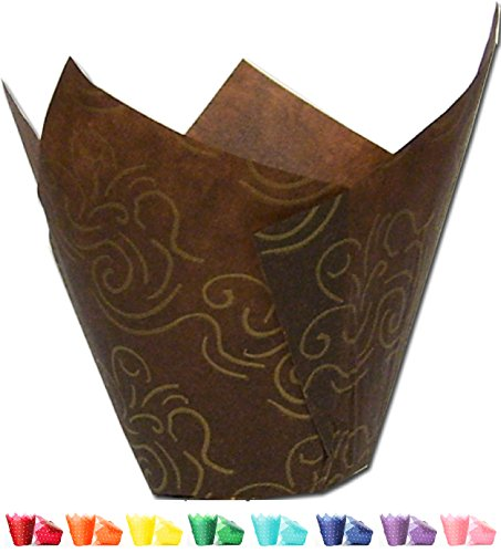Tulip Cupcake Liners (Gold Swirl) | 100 - And Brown Gold