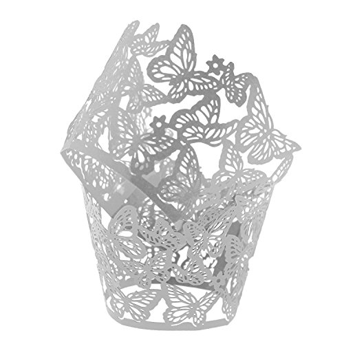 UNIQLED Pack of 50 Dancing Butterfly Filigree Bake Cake Paper Cups Little Vine Lace Laser Cut Liner Cupcake Wrappers Baking Cup Muffin Holder Case for Wedding Birthday Party Decoration (Cream)