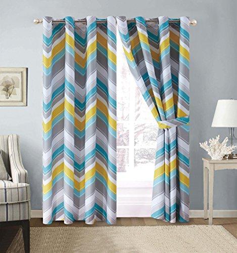 2-Piece CHEVRON ZIGZAG Designer Grommet Curtain / Drape Set - 120