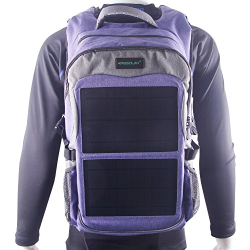 Kingsolar multiple function solar Backpack with 12W(Watts) Solar Panel Charger and two USB ports for most of USB port devices