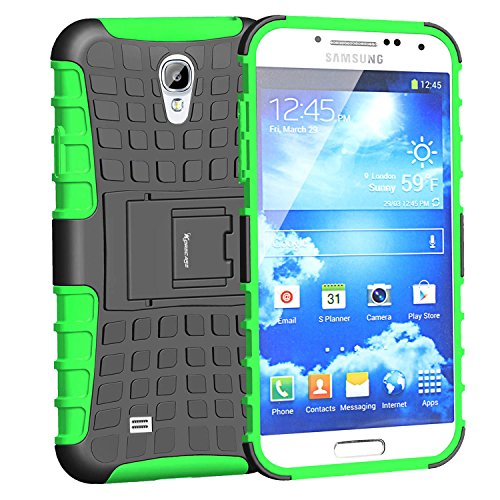 Case For Galaxy S4,Slim Heavy Duty Rugged Dual Layer Hybrid Armor Proctective Case For Samsung Galaxy S4 IV i9500 with Built-in Kickstand (Green)