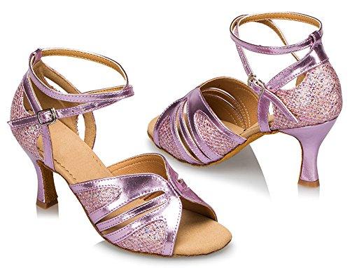 Strap Purple Thick Dance toe Shoes Womens Honeystore Glitter Suede Heel Sole Open Ankle T7wtI4xq