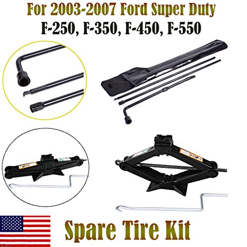 Autobaba For 2003-2007 Ford Super Duty F250 F350 F450 F550 Spare Tire Tool Kit and 2 Ton Scissor Jack, 2 Year Warranty, US Stock
