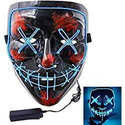 Halloween Scary Mask Cosplay LED Costume Mask EL Wire Light up for Halloween Festival Party (Blue)