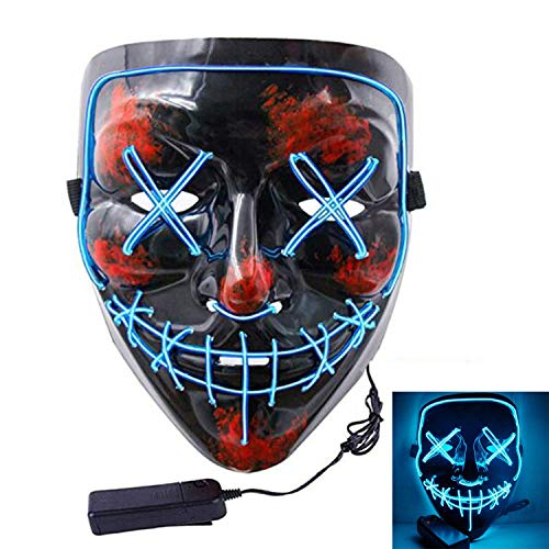 Halloween Scary Mask Cosplay LED Costume Mask EL Wire Light up for Halloween Festival Party (Blue) for $<!--$11.99-->