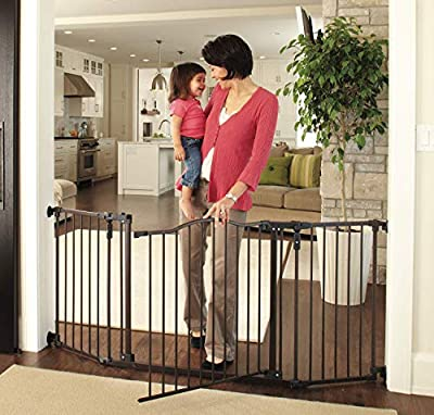 """North States 72"""" Wide Deluxe Décor Baby Gate: Provides safety in extra-wide spaces with added one-hand functionality. Hardware mount. Fits 38.3""""-72"""" wide (30"""" tall, Bronze)"""