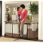 Toddleroo by North States 3-in-1 Arched Décor Metal Superyard: 144″ long extra-wide gate, barrier or play yard. Hardware or freestanding. 6 panels, 10 sq.ft. enclosure (30″ tall, Matte Bronze)