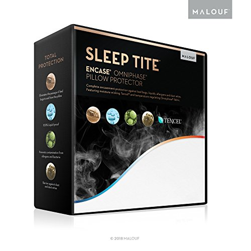 MALOUF Sleep TITE ENCASE OMNIPHASE Bed Bug Proof Waterproof Temperature Regulating Pillow Protector - Set of 2 - King, White