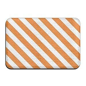 Casa Felpudo naranja rayas y texturas puerta esteras al aire libre Mats–Felpudo de entrada (Floor Mat