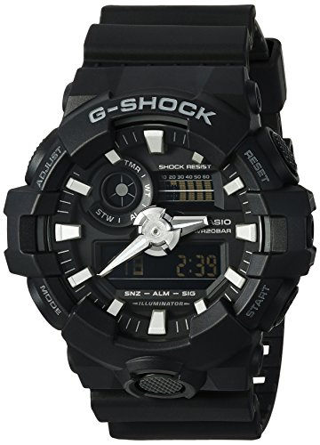 Casio Men's 'G SHOCK' Quartz Resin Casual Watch, Color:Black (Model: GA-700-1BCR)