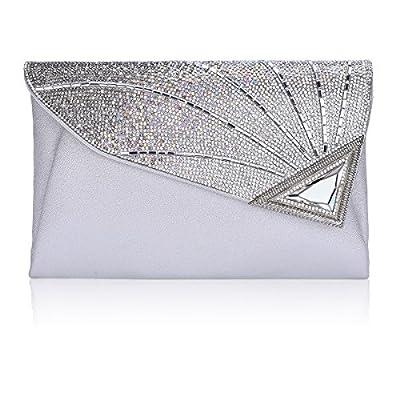 Clutch Purse For Women Ladies Rhinestone Clutch Purse Leather Clutch Bag Wedding Bridal With Strap