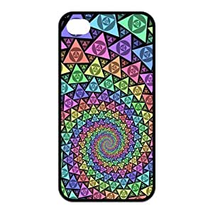 Colorful Vortex Pattern Protective Rubber Back Fits Cover Case for iPhone 4 4s