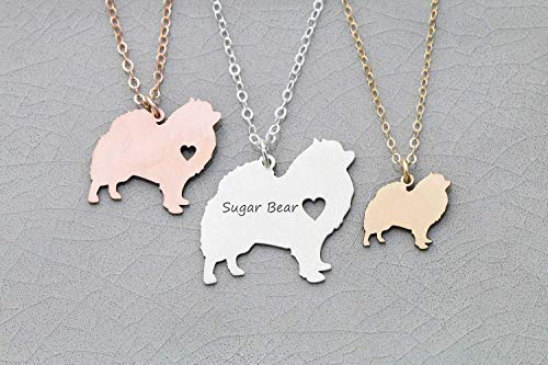 Pomeranian Necklace - Pomeranian Dog Necklace - IBD - Pompom - Personalize with Name or Date - Choose Chain Length - Pendant Size Options - 935 Sterling Silver 14K Rose Gold Filled Charm - Ships in 1 Business Day