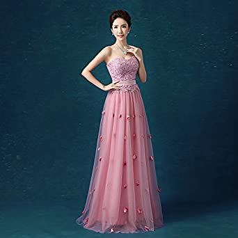 vimans Womens Elegant Long Sweetheart Beaded Petal Evening Party Gowns